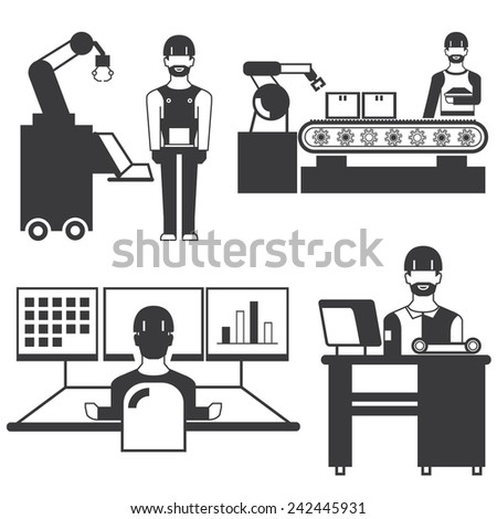 manufacturing icons, production line icons, engineering workshop set - stock vector