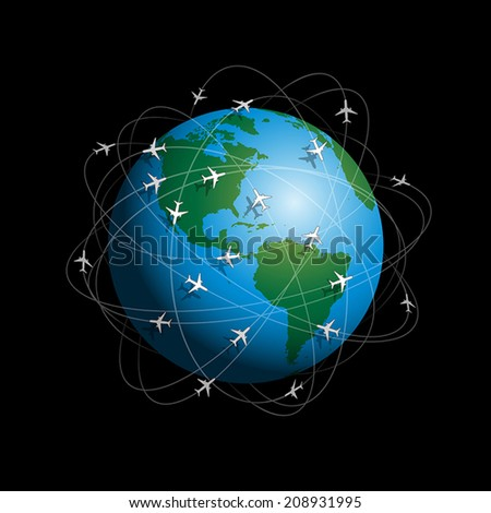 Many airplanes flying around planet earth. Vector illustration on black background. - stock vector