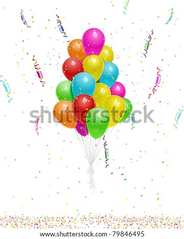 many balloons floating with confetti and party streamers