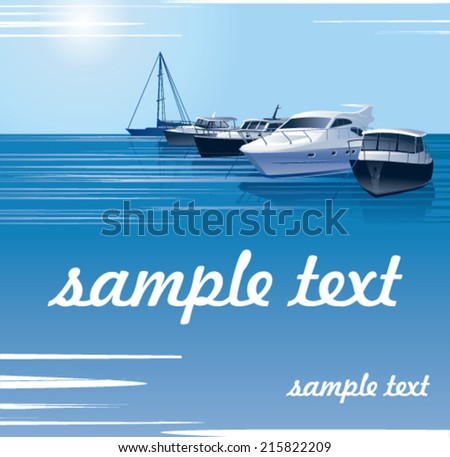 many beautiful moored yachts in the sea port   - stock vector