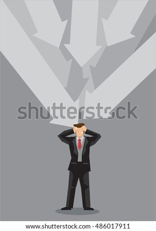 Many big bold arrows pointing at a stressed up businessman. Vector cartoon illustration for stress and mental health concept isolated on grey background.