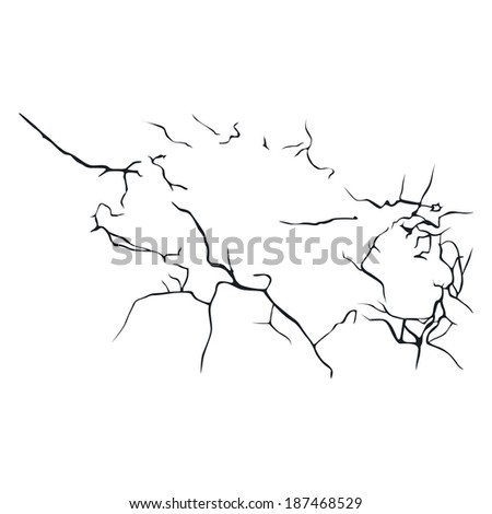 many black cracks aimed in different directions on a white background