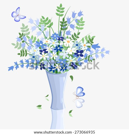 many blue wild flowers in blue vase and butterfly on light background, vector illustration - stock vector