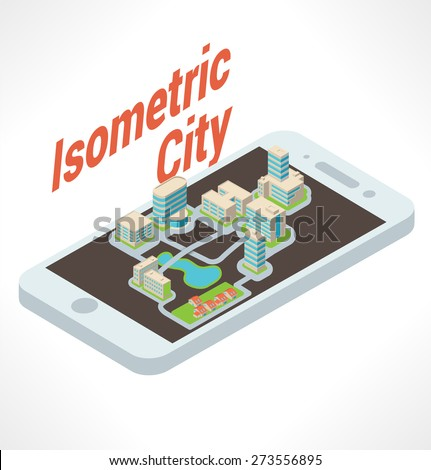 Many buildings atop isometric smarthpone. - stock vector
