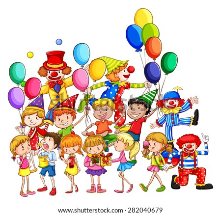 Many children having fun at the party - stock vector