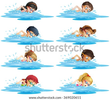 Many children swimming in the pool illustration - stock vector