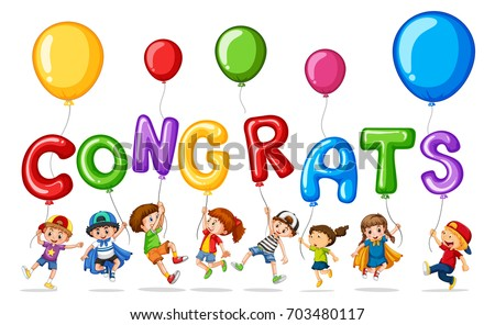 many children with balloon word congrats illustration