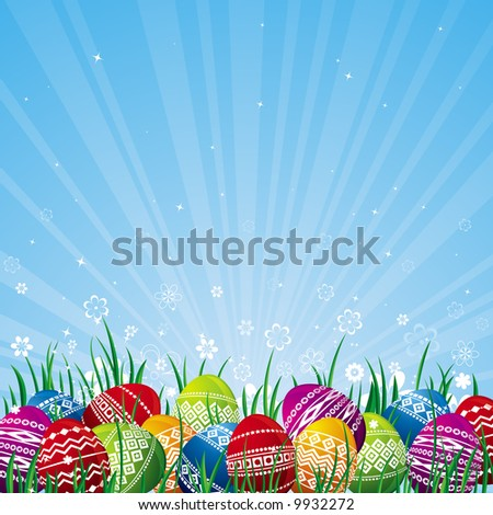 many color easter eggs over blue  background - stock vector