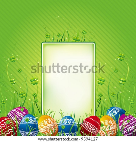 many color easter eggs over green  background - stock vector