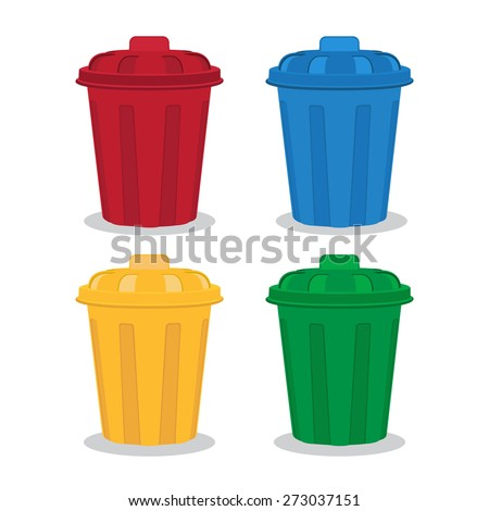 many color wheelie bins set, illustration of waste management concept - stock vector