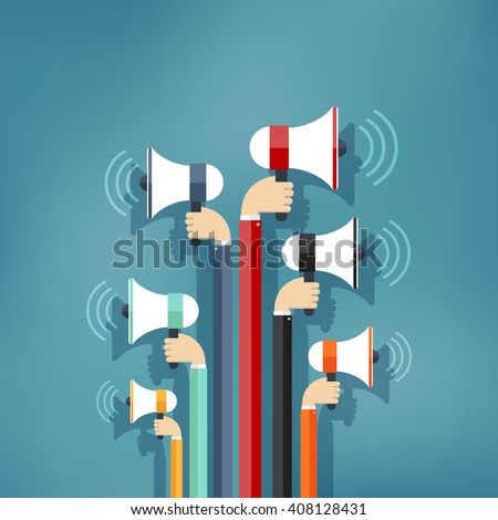 Many colorful Hands holding megaphone. Promotion and advertising in flat style. Digital marketing.