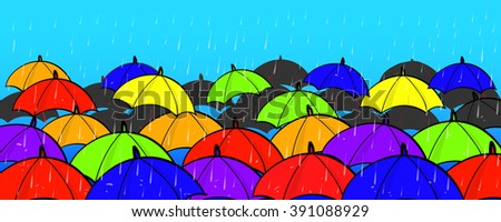 Many Colorful Umbrellas Concept Copy Space On Blue Sky Background - stock vector
