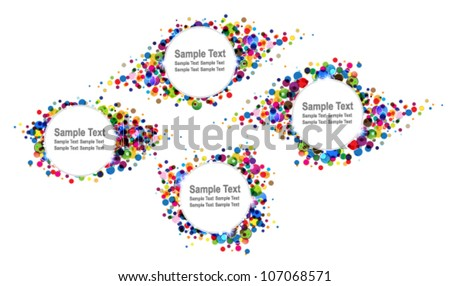 Many colourful confetti. Four bright festive backgrounds - stock vector