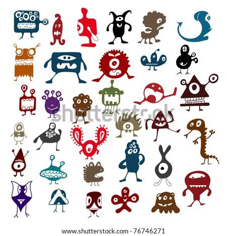 Cute Doodle Monsters Many Cute Doodle Monsters