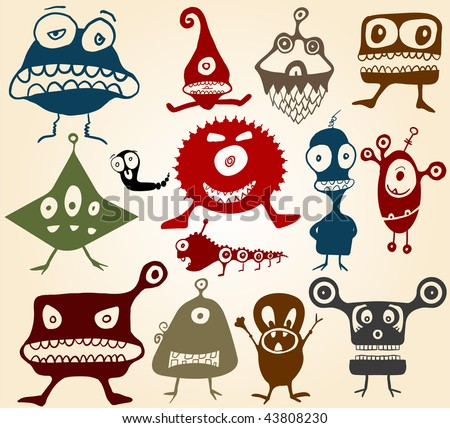 Many cute doodle monsters Set 2 - stock vector