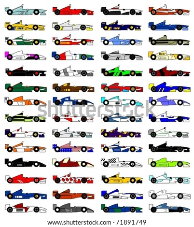 Many designs racing cars open wheel - stock vector