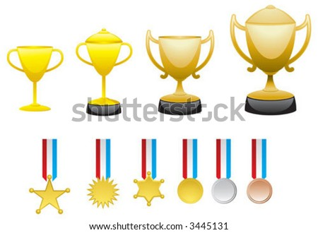 Many difference type of trophy and medal - stock vector