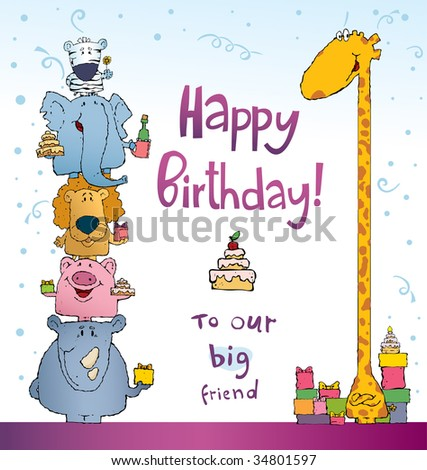 many different animals congratulate a giraffe on a birthday illustration - stock vector