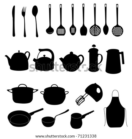 many different dishes and kitchen objects, vector - stock vector