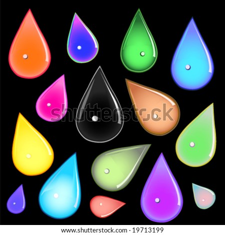 many different multicolored water drops on black background vector - stock vector