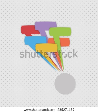 many different speak bubbles on gray dotted background - stock vector