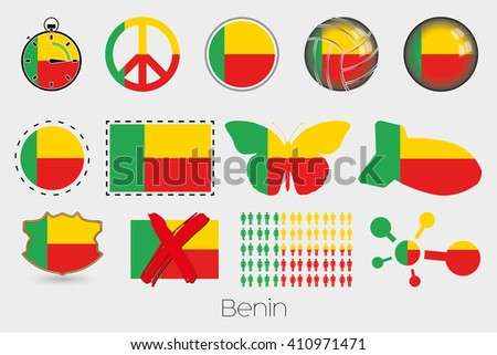 Many Different styles of flag for Benin