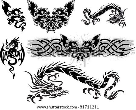 many dragons - stock vector