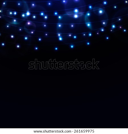 Many glowing blue lights on strings, background with garlands and place for text - stock vector