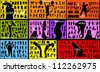 many groups of people silhouettes - stock vector