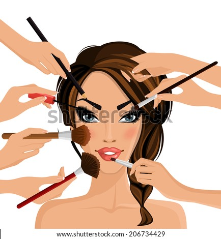 Many hands with cosmetics brush doing make up of glamour girl vector illustration - stock vector