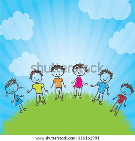 many happy children in a natural vector illustration - stock vector