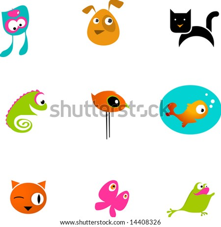 many icons of pets and animals - stock vector