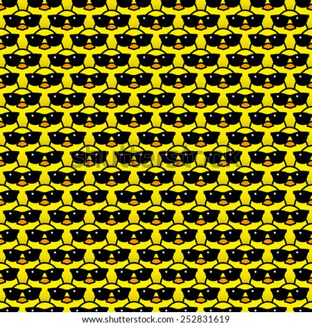 Many Identical Yellow Chicks Wearing Cool Black Sunglasses Staring at camera in a Pattern - stock vector