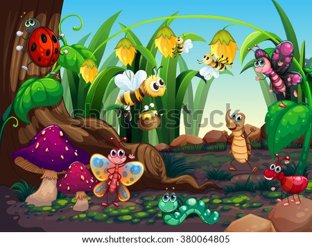 Many insects living in the garden illustration - stock vector