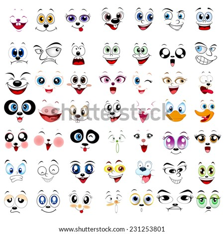 Many kind of illustration of faces on a white background - stock vector