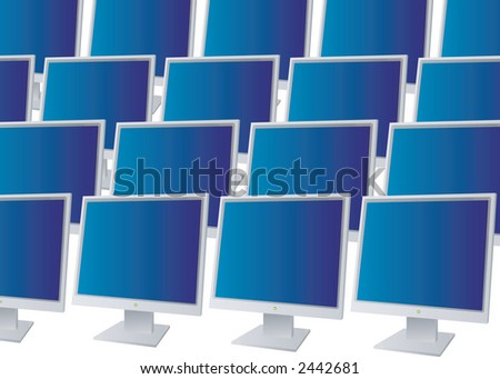 Many monitors all in a row with blue screena - stock vector