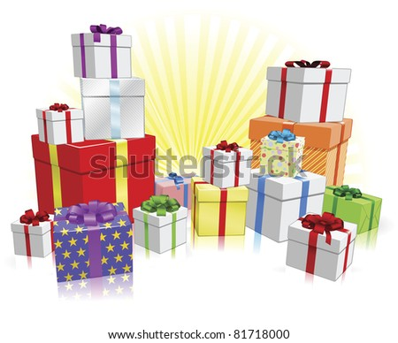 Many nicely wrapped presents for a celebration such as a Birthday or Christmas - stock vector