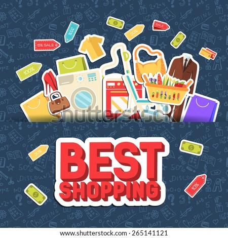 Many object purchased in the shop. Shopping abstract background concept. In flat sticker style icons with shop label design illustration.   - stock vector