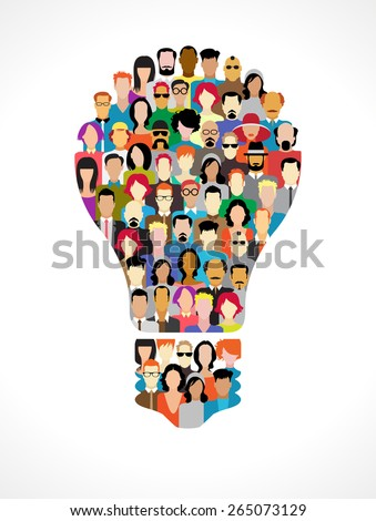 Many people of color icons in the form of light bulbs. Concept of business ideas. File is saved in AI10 EPS version. - stock vector