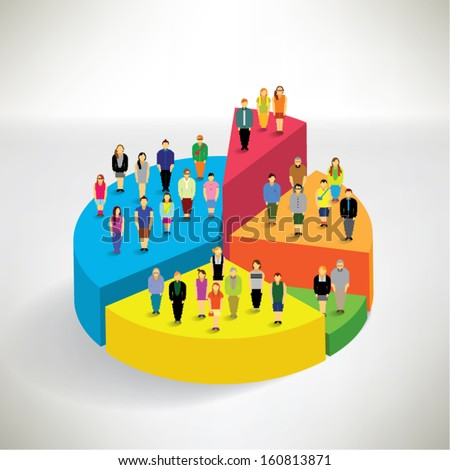 Many people standing on pie chart conceptual vector design - stock vector