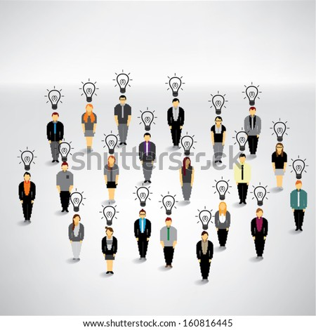 Many people with idea conceptual vector design - stock vector