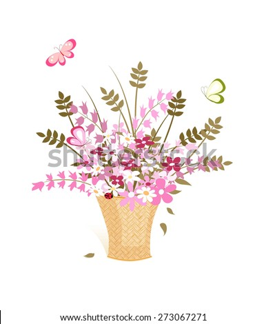 many pink wild flowers in straw basket and flying butterfly on white background, vector illustration - stock vector
