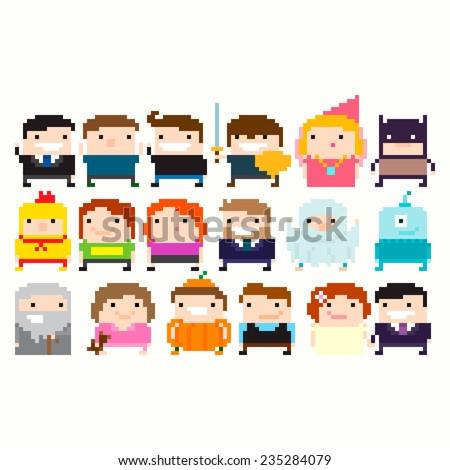 Many pixel art funny characters: businessman, warrior, princess, wizard, superhero, halloween party costume, alien, little girl in pajamas, wedding couple - stock vector