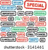 Many rubber stamps for office, bank, paperworks - stock vector