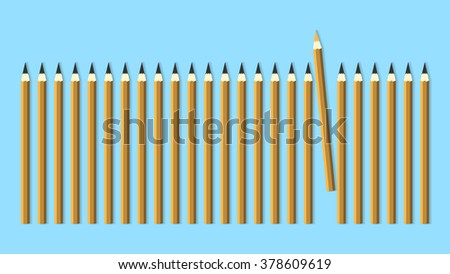 Many simple pencils and one orange pencil. Vector background