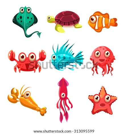 Many species of fish and marine animal life Victor illustration