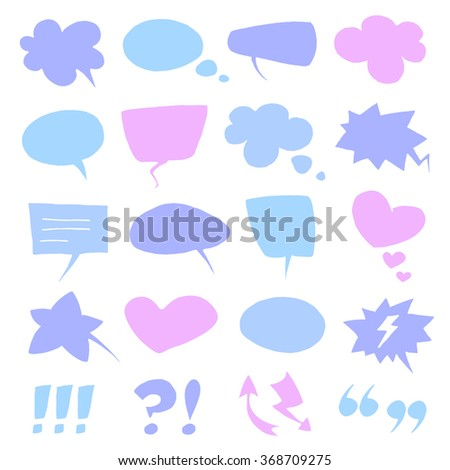Many vector empty colorful speech bubbles collection set isolated on white background.  - stock vector