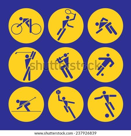 Many vector pictogram of sports (cycling, tennis, golf, baseball, football, ski, running, basketball, badminton, bicycle) - stock vector