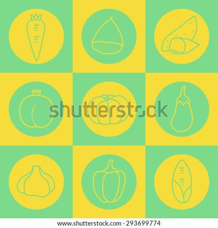 Many Vector Symbol Graphics Set Vegetablessweet Stock Vector