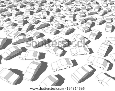 many white cars in a traffic jam - stock vector